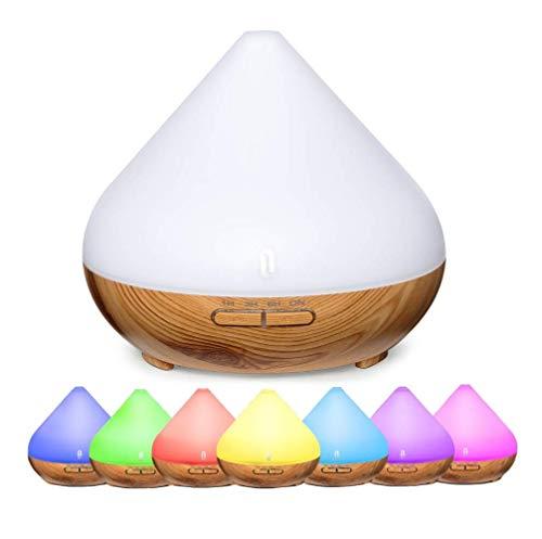TaoTronics 300ml Difusor de Aromas,Difusor Aromaterapia con Luz Nocturna de 7 Colores, Difusor de Aceites Esenciales, Temporizador, Auto-Apagado, 2 Modos de Dormir