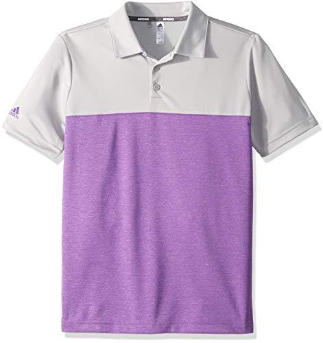 adidas Jungen-Poloshirt, meliert, farbgeblockt, Jungen, Polo, Heathered Color Blocked Polo, Grau/Violett, Small