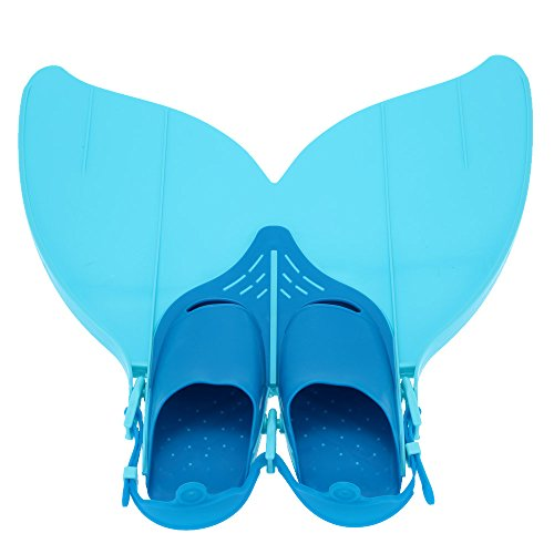 Gwood Meerjungfrau Flossen Monofin Taucherflossen für Kinderschwimmen Schwimm Flossen (Blau)