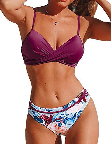 CUPSHE Damen Bikini Set Push Up Crossover Bikinioberteil Strandmode Zweiteiliger Badeanzug Violett XL