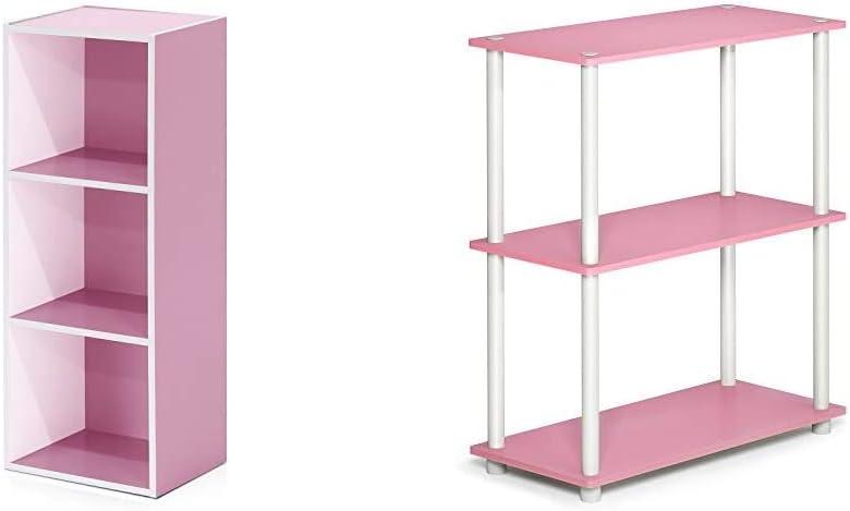 Furinno 3-Tier ご予約品 Open Shelf Bookcase 交換無料 Turn White 11003WH PI Pink