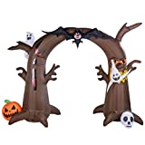 Twinkle Star 8 Ft Tall Halloween Yard Decorations Inflatable Tree Archway with Ghosts Bat Pumpkin and Skeleton, Blow up Lighted Animated Halloween Yard Prop, Giant Lawn Outdoor Indoor Holiday D¨¦cor