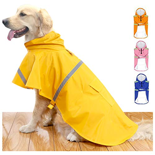 HAPEE Dog Raincoats for Large Dogs with Reflective Strip Hoodie,Rain Poncho Jacket for Dogs