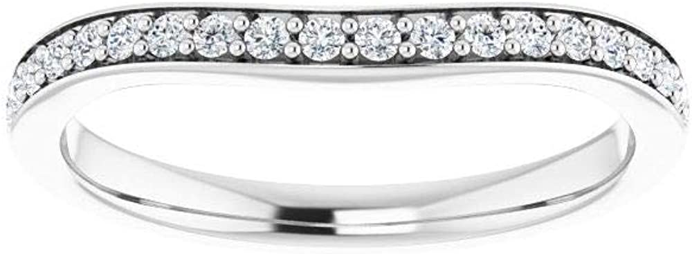 Solid 14k White Gold 1/5 Cttw Diamond Curved Notched Wedding Band for 5.5mm Square Ring Guard Enhancer - Size 7 (.20 Cttw)