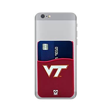 Virginia Tech Hokies Adhesive Silicone Cell Phone Wallet/Card Holder for iPhone, Android, Samsung Galaxy, & most Smartphones