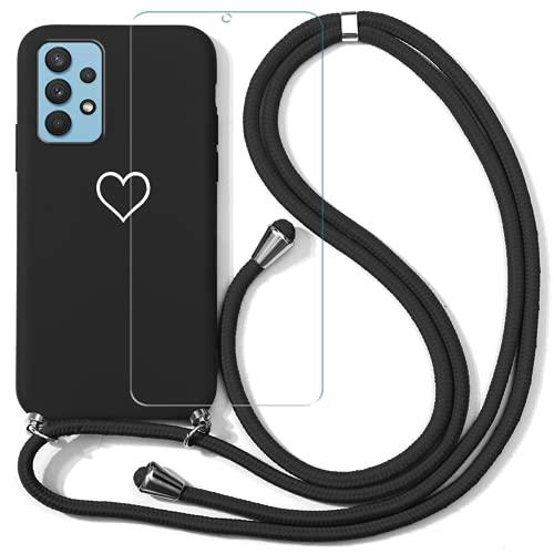 ZhuoFan Funda con Cuerda para Samsung Galaxy A72 6,7'' y Protector Pantalla de Cristal Templado, Suave TPU Carcasa de AntiChoque con Ajustable Collar Correa Cordón para el Cuello Cadena, Amor2
