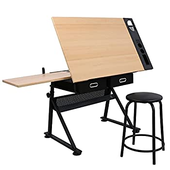 ZENY Height Adjustable Drafting Table Art Desk Drawing Table Artist Table Tilted Tabletop w/Stool and Storage Drawer for Reading Writing Crafting Painting Art