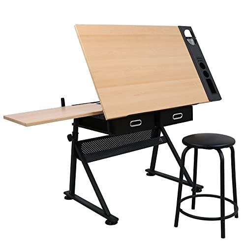 ZENY Height Adjustable Drafting Table Art Desk Drawing Table Artist Table Tilted Tabletop w/Stool...