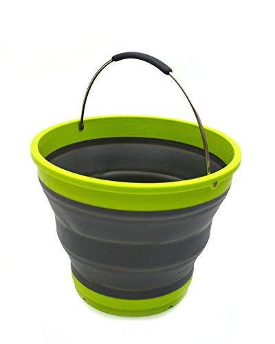 Sammart 10L/2.6Gallon pieghevole secchio di plastica–pieghevole rotonda vasca–Portable pesca secchio di acqua–risparmio di spazio esterno Waterpot, misura 31cm di diametro Gark Grey