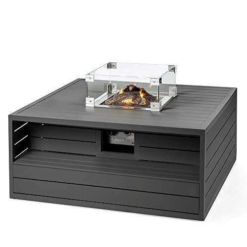 M A N I A Feuertisch für den Garten - Alu Gas Feuerstelle ohne Rauch, Funken, Glut & Asche - Feuerstelle Outdoor mit 6,5 kW aus Aluminium grau 105 x 105 x 47 cm