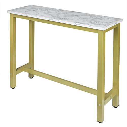 EUGAD 0005BAZ 1x Bartisch Bistrotisch Stehtisch Küchentisch Esstisch, stabiles Metallgestell, Tischplatte aus Holzfaserplatte, für Bar, Esszimmer, Gold + Weißer Marmor 120x40x100cm (BxTxH)