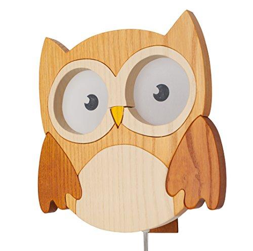 Clevere Kids Kinder Wandlampe Alle Meine Tiere Holz Handarbeit A++ (Eule natur)