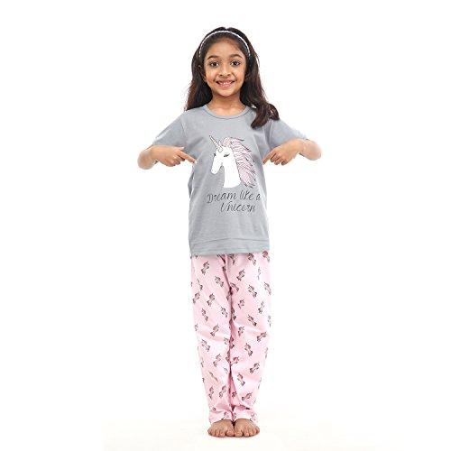 NITE FLITE Girls' Unicorn Print Cotton Nightwear | Top and Pyjama Set (Multi-Colour, 6)
