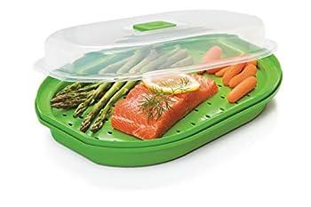 Prep Solutions by Progressive Microwavable Fish and Veggie Steamer Steam Vent Vegetable Steamer BPA FREE Dishwasher Safe
