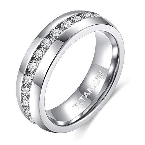Zakk Damen Eternity Ring Titan Ewigkeitsring Eheringe 4mm 6mm Silber Memoire Ringe Hochzeitsring (6mm, 57 (18.1))