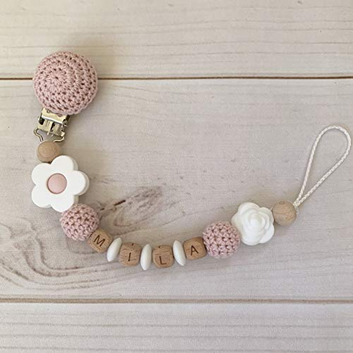Schnullerkette mit Namen Silikon Holz Nuckelkette rosa weiß gehäkelt