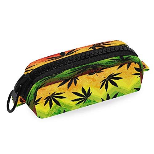 Estuche para lápices con diseño de hojas de marihuana, con diseño de cheurón, con cremallera, para escuela, oficina, estudiante universitario