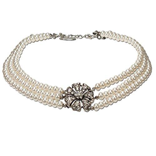 Alpenflüstern Perlen-Trachten-Collier Jasmin - Trachtenkette mit Strass-Blüte - Damen-Trachtenschmuck Dirndlkette Creme-weiß DHK139