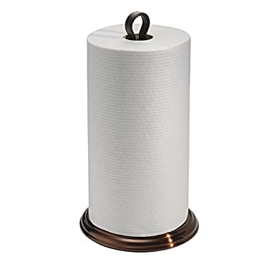 mDesign Paper Towel Holder Stand/Dispenser, Freestanding Vertical Design, Fits Standard and Jumbo-Sized Rolls - for Kitchen Countertop, Pantry, Laundry/Utility Room, Garage Storage - Bronze