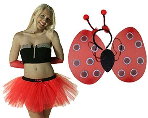 labreeze - Falda tutú roja con alas de Mariquita Deeley Boppers para Disfraz de Diablo de Halloween