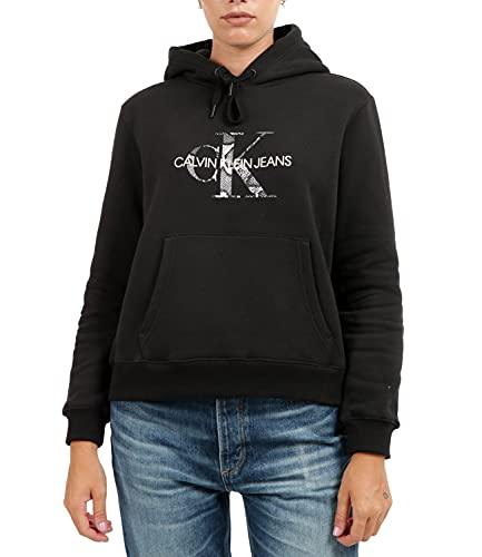 Calvin Klein Jeans Damska bluza z kapturem Reptile Monogram Hoodie, Ck czarny, XS