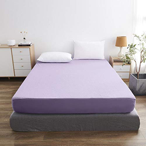 haiba Funda protectora antialérgica para colchón, impermeable, 90 x 200 cm+30 cm, color morado