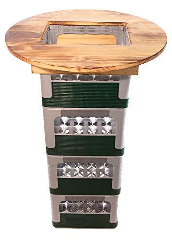 Hermes24 Stehtisch Bistrotisch Holz Rund Ø 70 cm Fichte geflämmt BKTA70FIG Bierkastentischaufsatz Bierkasten Aufsatz Partytisch