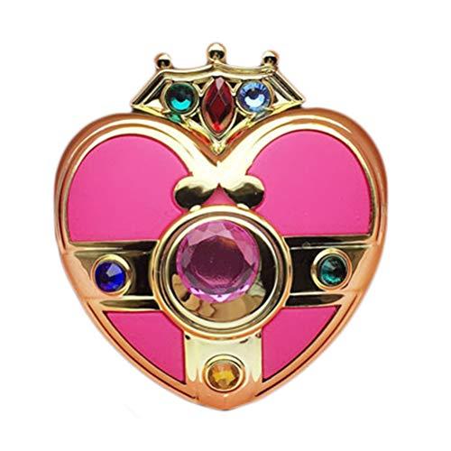 HEITIGN Sailor Moon Schminkspiegel, Niedliche Herzförmige Spiegel Anime Cosplay Requisiten für Kinder und Erwachsene Geschenk