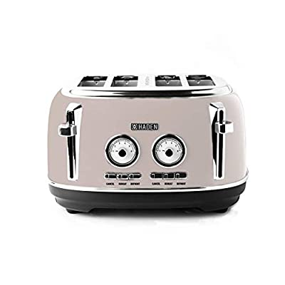 Haden Jersey Toaster –RetroElectric Stainless-Steel Toaster, Four Slice, Putty - CD24
