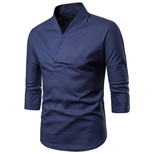 Xmiral T-Shirt 3/4-Ärmel Stehkragen Einfarbig V-Ausschnitt Retro Herren Tee Shirt Hemde Kurzarm Langarm Kariert Sommer Freizeit Men´s Shirt(b Blau,M)