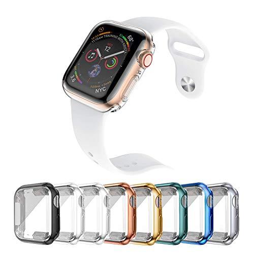 [8 Pezzi] Custodia Protettiva per Apple Watch Serie 6/5/4 (44mm), Cover Apple Watch Caso in Gel Silicone Morbida in TPU, Chiaro, Anti-Graffio, Protezione Totale Case Cover per Apple Watch