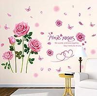 Lcymt ピンクローズフラワーウォールステッカー用ハウスリビングルーム女の子の寝室の結婚式の部屋の装飾ステッカー60×90センチ