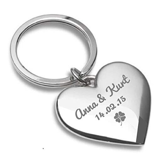 Gravurenalarm Schlüsselanhänger Almere, Silber-glänzender Herz-Anhänger aus Metall mit personalisierter Gravur, süßes Geschenk für Paare, inkl. Samtsäckchen