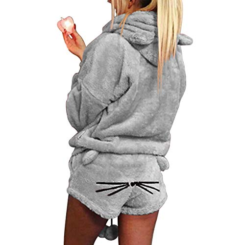 XingYue Direct 2 stücke Frauen Katze Pyjamas Nette Mädchen Meow Nachtwäsche Weichen Bademantel Shorts Winter Lounge Nachtwäsche Sets (Color : Gray, Size : S)