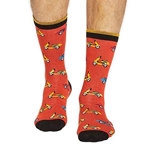 Thought Herren Roller Bambus & Bio-Baumwolle Socken Packung mit 1 Terrakotta 40-43