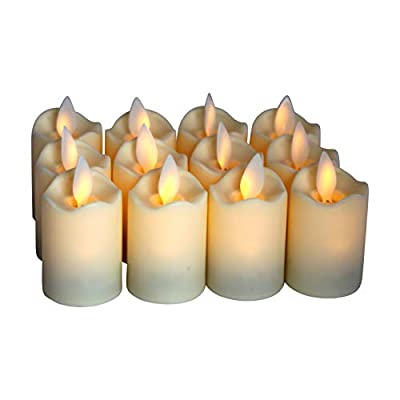 Flameless Candles - LED Votive Tea Lights - Flickering Dancing Flame - Battery Operated - Non-Wax - Unscented Candle -Set of 12