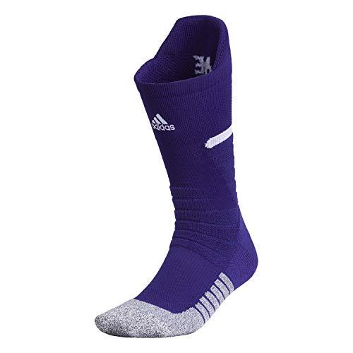 adidas Adizero - Calcetines de fútbol unisex acolchados (1 par), Unisex, Crew Sock-Team, 978417, Team Collegiate Purple/White, Medium