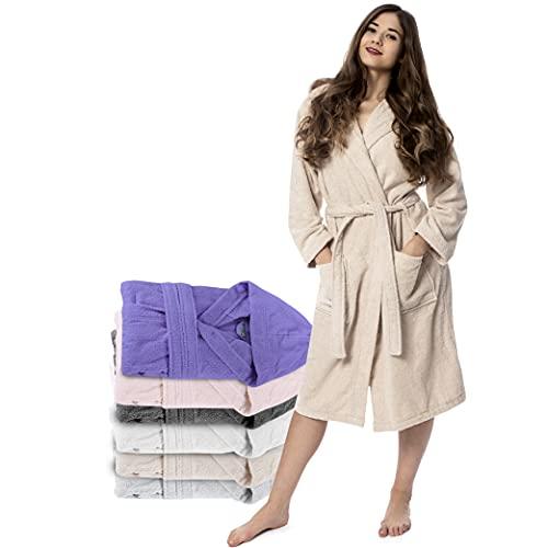 Twinzen Bademantel Damen - M - Beige - 100% Baumwolle (350g/m²) OEKO-TEX® Zertifiziert - Bademantel mit Kapuze, 2 Taschen, Gürtel
