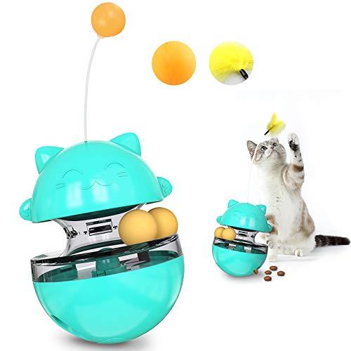 IVEOPPE Juguetes para Gatos Interactivos, Automático Dispensador de Comida para Gatos, 4 en 1 Bolas Educativas, Vaso Giratorio con Bola Volteadora y Gracioso Gato Palo