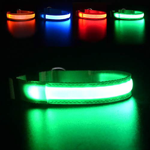 MASBRILL LED Dog Collar,Night Collar Dog DC Rechargeable Waterproof Durable Glowing Dog Collar 4 Colors for Choice