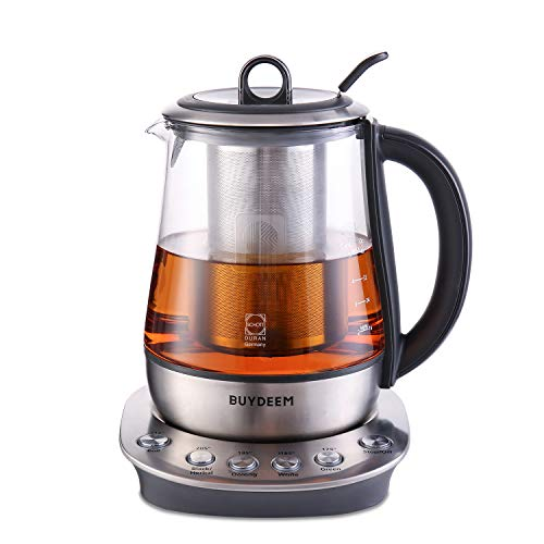 Buydeem K2423 Tea Maker, Durable 316 Stainless Steel & German Schott Glass Electric Kettle, Removable Infuser, Auto Keep Warm, BPA Free, 1.2L