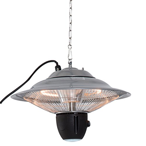 Outsunny 1500W Patio Heater Outdoor Ceiling Mounted Aluminium Halogen Electric Hanging Heating Light with Remote Control