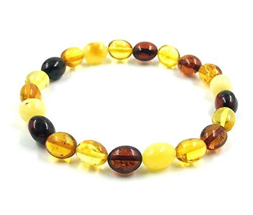 Amber Jewelry Shop Pulsera de ámbar (19 cm), 100% ámbar báltico pulido, pulsera de ámbar auténtico, pulsera unisex (arcoíris)