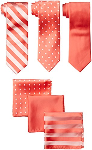 Stacy Adams Men's 3 Pack Satin Neckties Solid Striped Dots with Pocket Squares, Coral, One Size