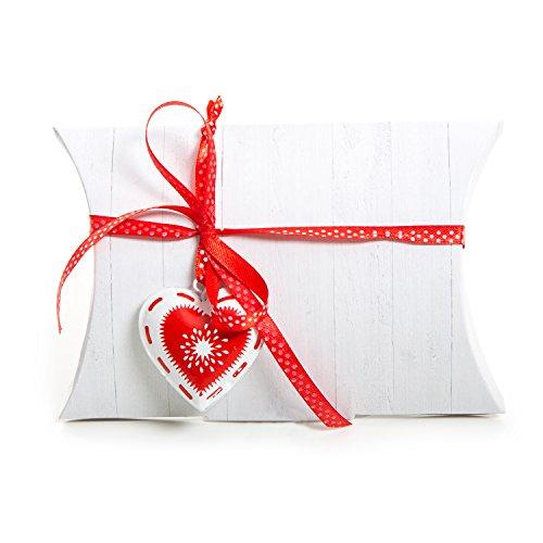 8 stuks witte houten look, geschenkdoos, kartonnen doosje, geschenkdoos, 14,5 x 10,5 + 3 cm + 8 rode witte hartvormige hangers + 8 rood wit gestippelde strikverpakking, voor kinderen van oudejaarsavond verjaardag