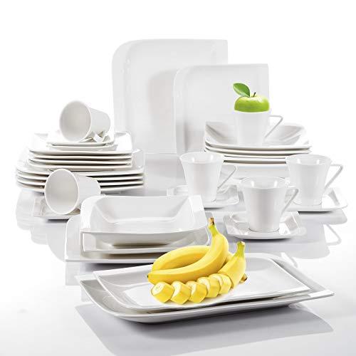 vancasso, série Gitana, Service de Table, 32 pièces, pour 6 Personnes, en Porcelaine, Couleur de Blanc,