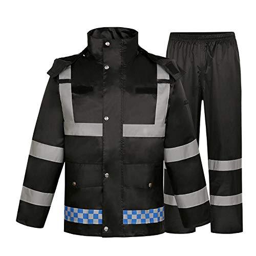 Impermeables Impermeable Pantalones de Lluvia Traje Impermeable Chaqueta de Lluvia Poncho Traje de Mesa Ropa de Lluvia-Negro_SG