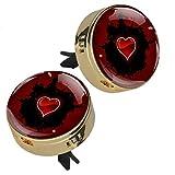 Z&Q Diffusore di Olio Cuore Rosso umidificatore aromaterapia per Auto Clip di Uscita dell'Aria con 4 Pezzi di tampone in PE 33.8mmX46.4mm