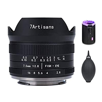 7artisans 7.5mm F2.8 II V2.0 Fisheye Lens with 190° Angle of View, Compatible with X-A1 X-A10 X-A2 X-A3 A-at X-M1 XM2 X-T1 X-T3 X-T10 X-T2 X-T20 X-T30 X-Pro1 X-Pro2 X-E1 X-E2 E-E2s X-E3 from 7artisans