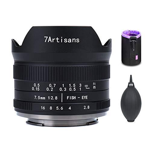7artisans Lente ojo de pez F2.8 II V2.0 de 7,5 mm con ángulo de visión de 190°, compatible con X-A1 X-A10 X-A2 X-A3 A-AT X-M1 XM2 X-T1 X-T3 X-T10 X-T2 X-T30 X-Pro1 X-Pro2 X-EX-EX. 1 X-E2. E-E2s X-E3